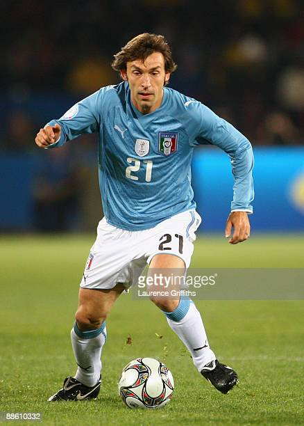 Andrea Pirlo of Italy in action during the FIFA Confederations Cup match beween Italy and Brazil at The Loftus Versfeld Stadium on June 21 2009 in...