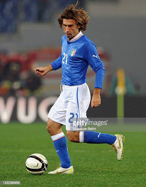 Andrea Pirlo of Italy in action during the International friendly match between Italy and Uruguay at Olimpico Stadium on November 15 2011 in Rome...