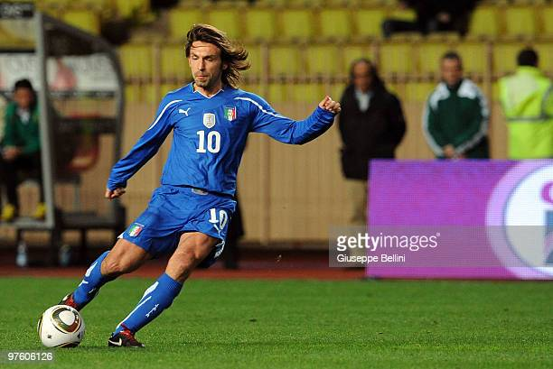 Andrea Pirlo of Italy in action during the International Friendly match between Italy and Cameroon at Louis II Stadium on March 3, 2010 in Monaco,...