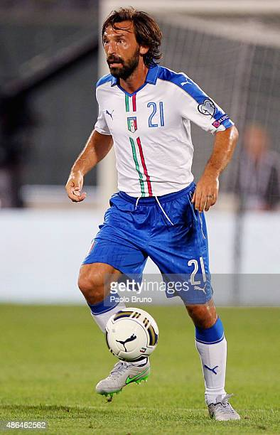 Andrea Pirlo of Italy in action during the UEFA EURO 2016 qualifier between Italy and Malta on September 3 2015 in Florence Italy