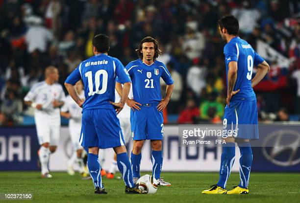 Andrea Pirlo of Italy is dejected during the 2010 FIFA World Cup South Africa Group F match between Slovakia and Italy at Ellis Park Stadium on June...