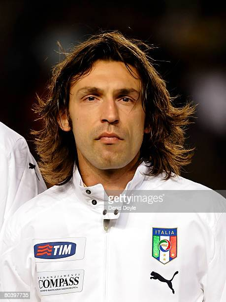 Andrea Pirlo of Italy linesup before the start of the friendly International match between Spain and Italy at the Martinez Valero stadium on March 26...