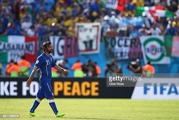 Andrea Pirlo of Italy looks dejected after a 10 defeat to Uruguay in the 2014 FIFA World Cup Brazil Group D match between Italy and Uruguay at...