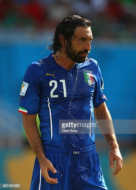 Andrea Pirlo of Italy looks on during the 2014 FIFA World Cup Brazil Group D match between Italy and Uruguay at Estadio das Dunas on June 24 2014 in...