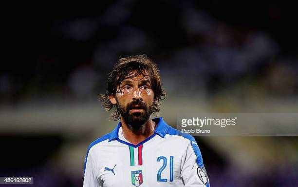 Andrea Pirlo of Italy looks on during the UEFA EURO 2016 qualifier between Italy and Malta on September 3 2015 in Florence Italy