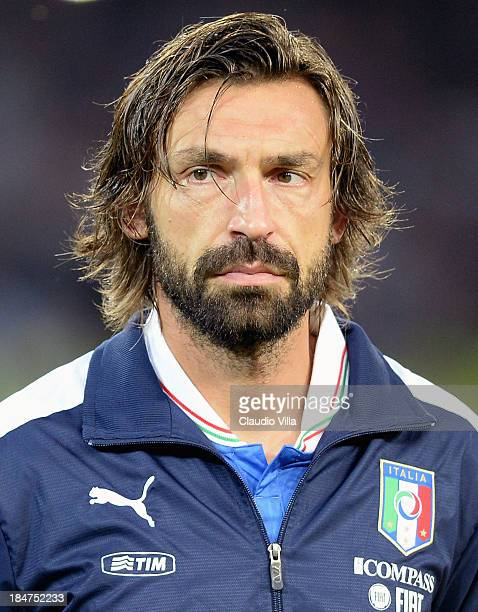 Andrea Pirlo of Italy looks on prior to the FIFA 2014 World Cup qualifier group B match between Italy and Armenia at Stadio San Paolo on October 15...
