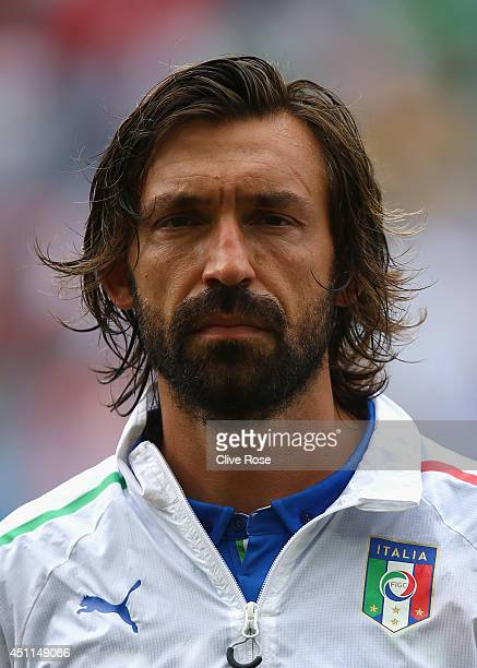 Andrea Pirlo of Italy looks on prior tothe 2014 FIFA World Cup Brazil Group D match between Italy and Uruguay at Estadio das Dunas on June 24 2014 in...