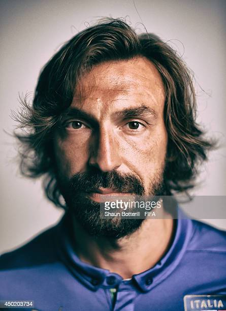 Andrea Pirlo of Italy poses during the official FIFA World Cup 2014 portrait session on June 6, 2014 in Mangaratiba, Brazil.