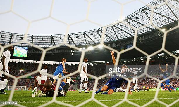 Andrea Pirlo of Italy scores his team's opening goal during the FIFA World Cup Germany 2006 Group E match between Italy and Ghana played at the...