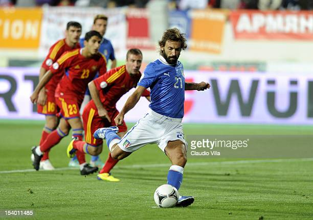 Andrea Pirlo of Italy scores the first goal during the FIFA 2014 World Cup Qualifier group B match between Armenia and Italy at Hrazdan Stadium on...