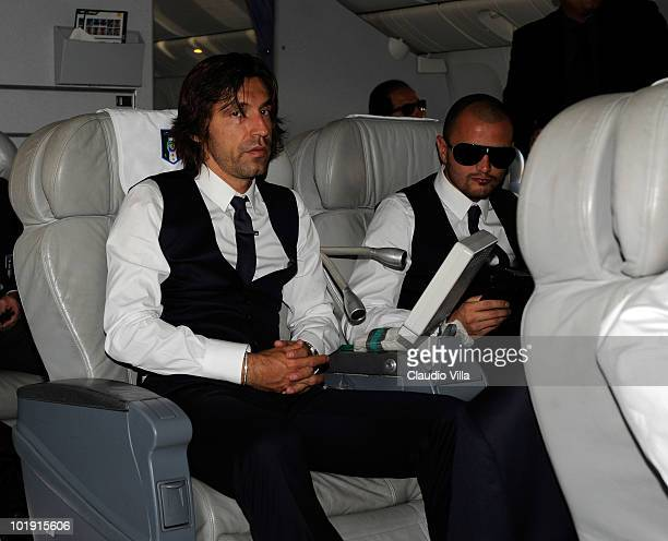 Andrea Pirlo of Italy sits on a plane during the their arrival for the 2010 FIFA World Cup at OR Tambo International Airport on June 9 2010 in...