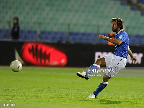 Andrea Pirlo of Italy takes a free kick during the FIFA 2014 World Cup Qualifier group B match between Bulgaria and Italy at Vasil Levski National...