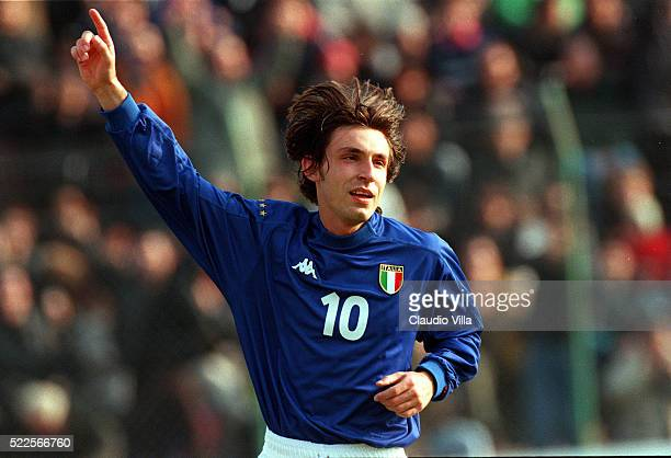 Andrea Pirlo of Italy U21 celebrates during Under 21 qualification round match between Italy and Bielorussia played at Rubens Fadini stadium on March...