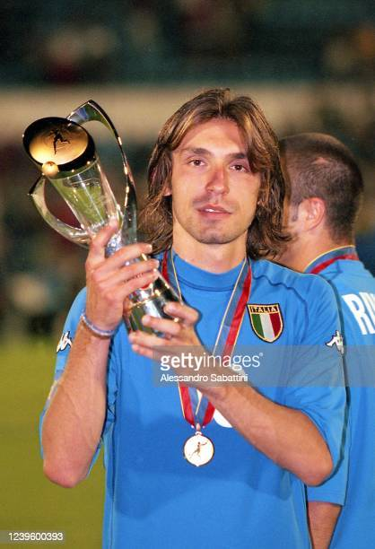 Andrea Pirlo of Italy U21 poses with the trophy after the U21 European Final Slovakia match between Czech Republic and Italy at Stadio Tehelné pole...