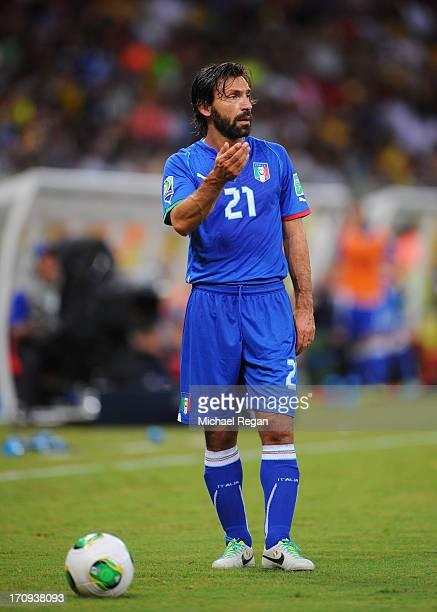 Andrea Pirlo of Italy waits at a free kick during the FIFA Confederations Cup Brazil 2013 Group A match between Italy and Japan at Arena Pernambuco...