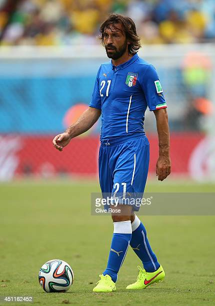 Andrea Pirlo of Italy waits to take a free kick during the 2014 FIFA World Cup Brazil Group D match between Italy and Uruguay at Estadio das Dunas on...