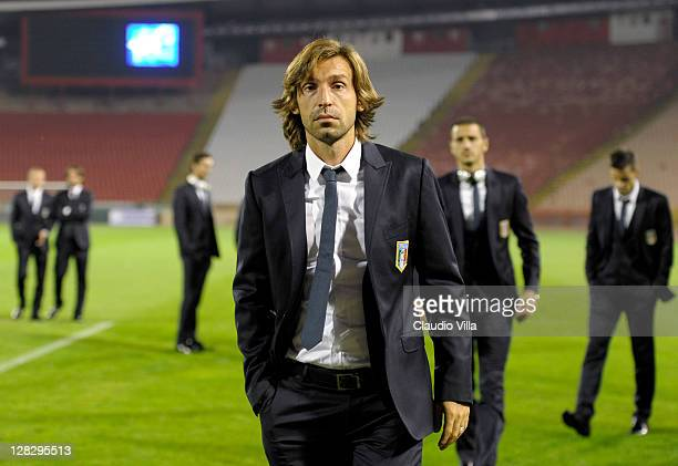 Andrea Pirlo of Italy walks on the pitch during a visit to the at Stadion Crvena Zvezda on October 6 2011 in Belgrade Serbia