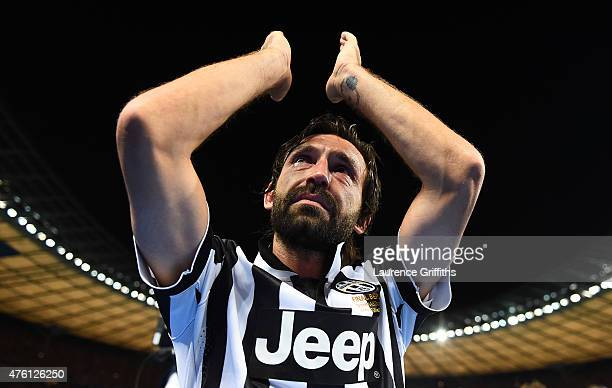 Andrea Pirlo of Juventus applauds the fans after the UEFA Champions League Final between Juventus and FC Barcelona at Olympiastadion on June 6, 2015...