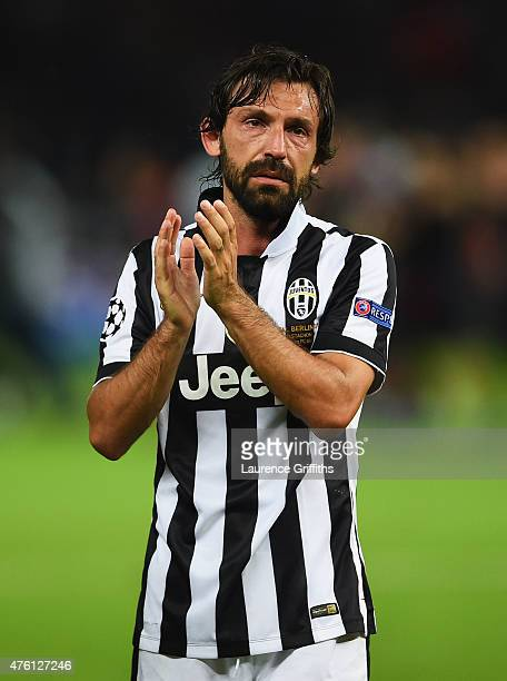 Andrea Pirlo of Juventus applauds the fans after the UEFA Champions League Final between Juventus and FC Barcelona at Olympiastadion on June 6 2015...