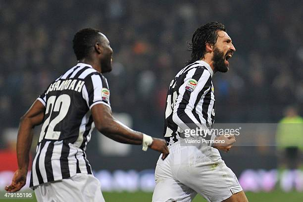 Andrea Pirlo of Juventus celebrates after scoring the opening goal during the Serie A match between Genoa CFC and Juventus at Stadio Luigi Ferraris...