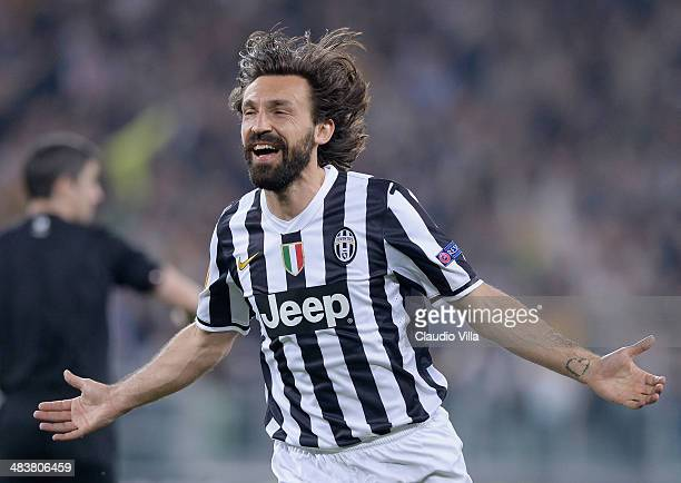 Andrea Pirlo of Juventus celebrates scoring the first goal during the UEFA Europa League quarter final match between Juventus and Olympique Lyonnais...