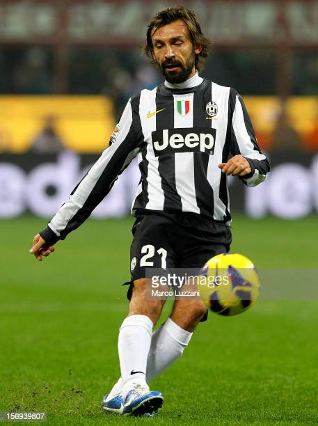 Andrea Pirlo of Juventus FC in action during the Serie A match between AC Milan and Juventus FC at San Siro Stadium on November 25 2012 in Milan Italy
