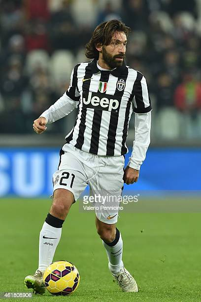 Andrea Pirlo of Juventus FC in action during the Serie A match between Juventus FC and Hellas Verona FC at Juventus Arena on January 18 2015 in Turin...
