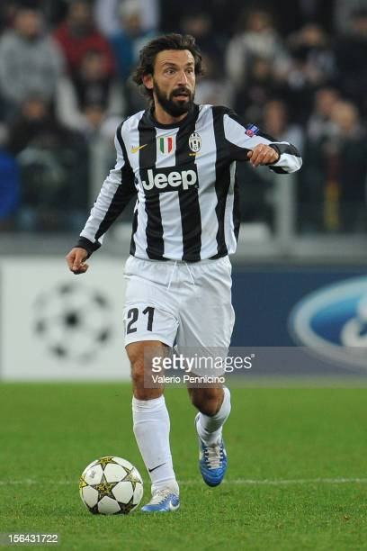 Andrea Pirlo of Juventus FC in action during the UEFA Champions League Group E match between Juventus FC and FC Nordsjaelland at Juventus Arena on...