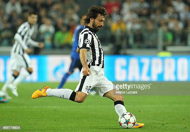Andrea Pirlo of Juventus FC in action during the UEFA Champions League Quarter Final First Leg match between Juventus and AS Monaco FC at Juventus...