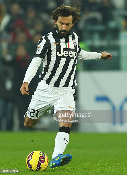 Andrea Pirlo of Juventus FC kicks a ball during the Serie A match between Juventus FC and AC Milan at Juventus Arena on February 7 2015 in Turin Italy
