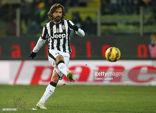Andrea Pirlo of Juventus FC kicks a ball during the TIM Cup match between Parma FC and Juventus FC at Stadio Ennio Tardini on January 28 2015 in...
