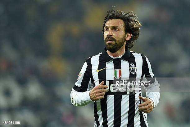 Andrea Pirlo of Juventus FC looks on during the Serie A match between Juventus FC and Atalanta BC at Juventus Arena on February 20 2015 in Turin Italy