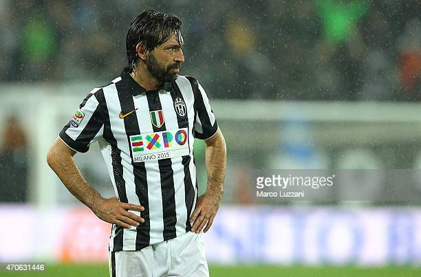 Andrea Pirlo of Juventus FC looks on during the Serie A match between Juventus FC and SS Lazio at Juventus Arena on April 18 2015 in Turin Italy