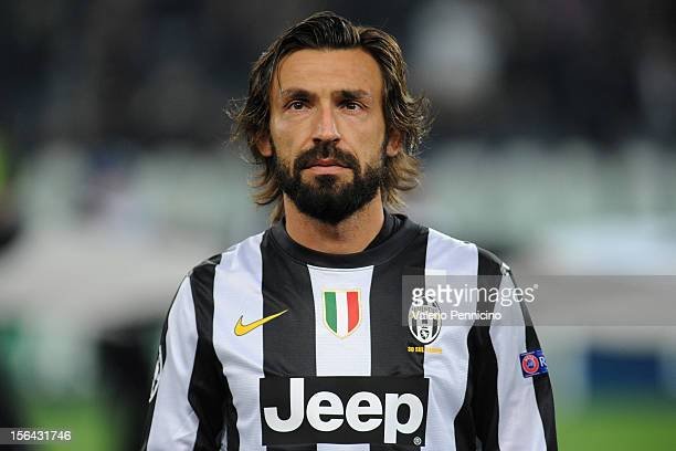 Andrea Pirlo of Juventus FC looks on prior to the UEFA Champions League Group E match between Juventus FC and FC Nordsjaelland at Juventus Arena on...