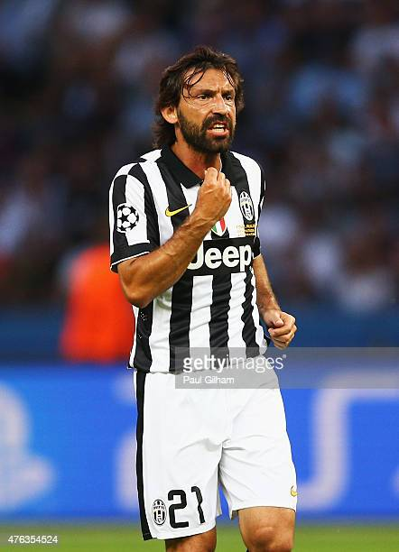 Andrea Pirlo of Juventus gives instructions during the UEFA Champions League Final between Juventus and FC Barcelona at Olympiastadion on June 6 2015...