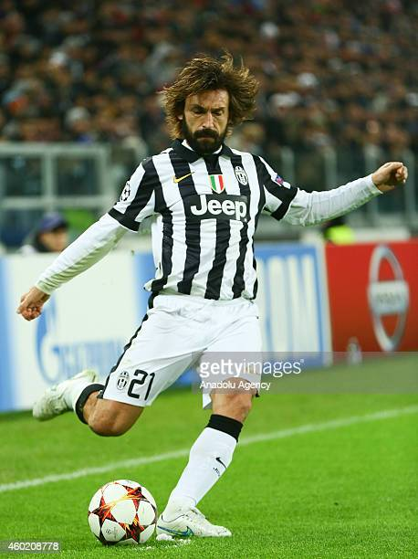 Andrea Pirlo of Juventus in action during the Champions League Group A football match between Juventus and Atletico Madrid at the Juventus Stadium in...
