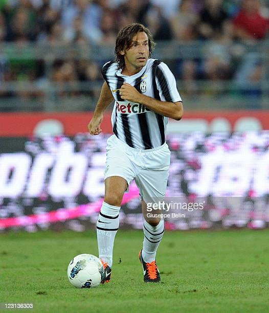 Andrea Pirlo of Juventus in action during the match between AC Milan and Juventus FC during the TIM preseason tournament at Stadio San Nicola on...