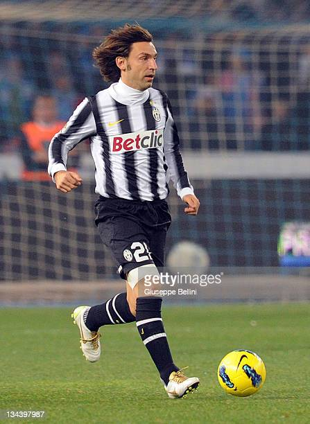 Andrea Pirlo of Juventus in action during the Serie A match between SSC Napoli and Juventus FC at Stadio San Paolo on November 29 2011 in Naples Italy