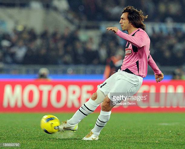 Andrea Pirlo of Juventus in action during the Serie A match between SS Lazio and Juventus FC at Stadio Olimpico on November 26 2011 in Rome Italy