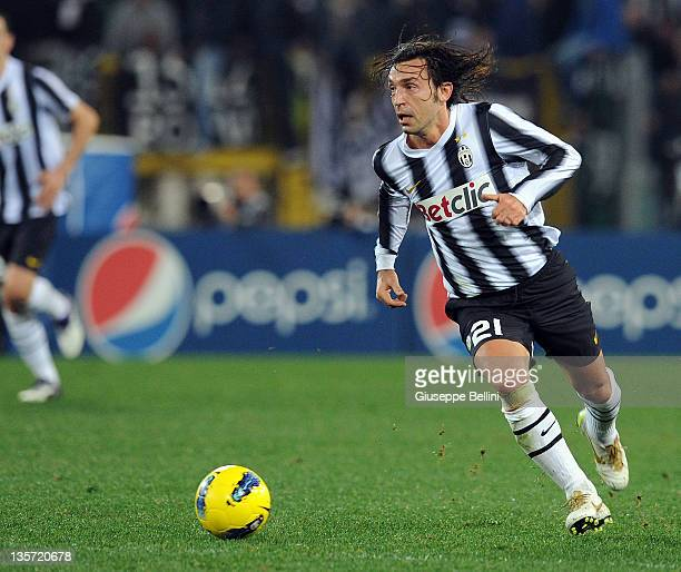Andrea Pirlo of Juventus in action during the Serie A match between AS Roma and Juventus FC at Stadio Olimpico on December 12 2011 in Rome Italy