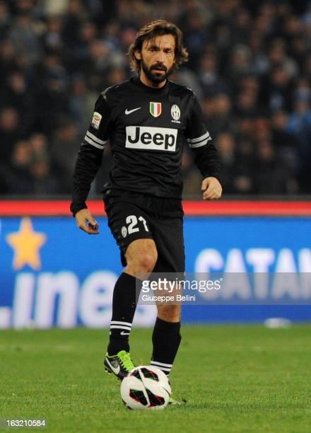 Andrea Pirlo of Juventus in action during the Serie A match between SSC Napoli vs Juventus FC at Stadio San Paolo on March 1 2013 in Naples Italy