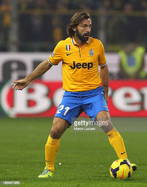 Andrea Pirlo of Juventus in action during the Serie A match between Parma FC and Juventus at Stadio Ennio Tardini on November 2 2013 in Parma Italy