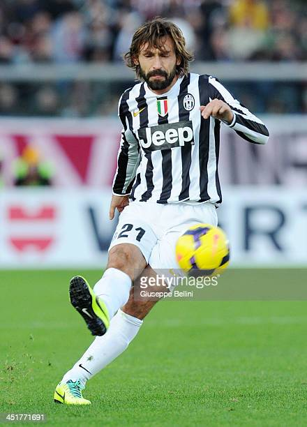 Andrea Pirlo of Juventus in action during the Serie A match between AS Livorno Calcio and Juventus at Stadio Armando Picchi on November 24 2013 in...