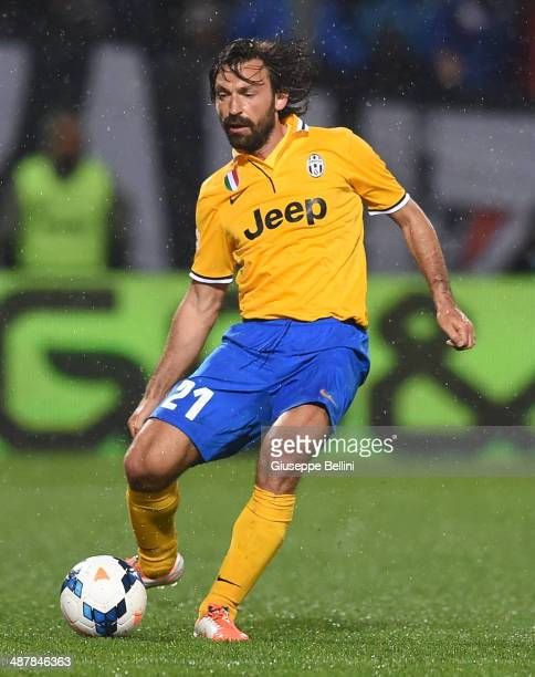 Andrea Pirlo of Juventus in action during the Serie A match between US Sassuolo Calcio and Juventus at Mapei Stadium on April 28 2014 in Sassuolo...