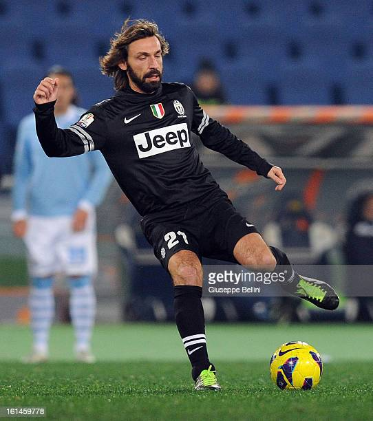 Andrea Pirlo of Juventus in action during the TIM cup match between SS Lazio and Juventus FC at Stadio Olimpico on January 29 2013 in Rome Italy