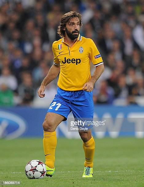 Andrea Pirlo of Juventus in action during the UEFA Champions League Group B match between Real Madrid CF and Juventus at Estadio Santiago Bernabeu on...