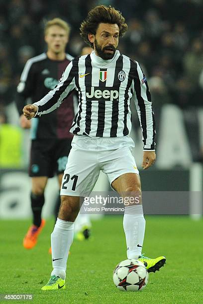 Andrea Pirlo of Juventus in action during the UEFA Champions League Group B match between Juventus and FC Copenhagen at Juventus Arena on November 27...