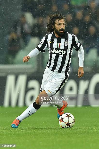 Andrea Pirlo of Juventus in action during the UEFA Champions League group A match between Juventus and Olympiacos FC at Juventus Arena on November 4...