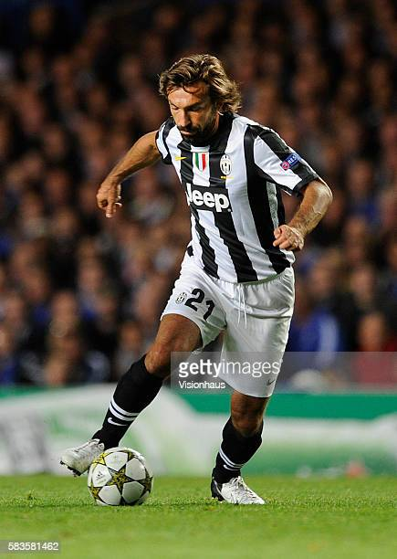 Andrea Pirlo of Juventus in action during the UEFA Champions League Group E match between Chelsea and Juventus at Stamford Bridge in London UK Photo...