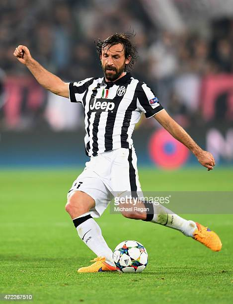 Andrea Pirlo of Juventus in actrion during the UEFA Champions League semi final first leg match between Juventus and Real Madrid CF at Juventus Arena...